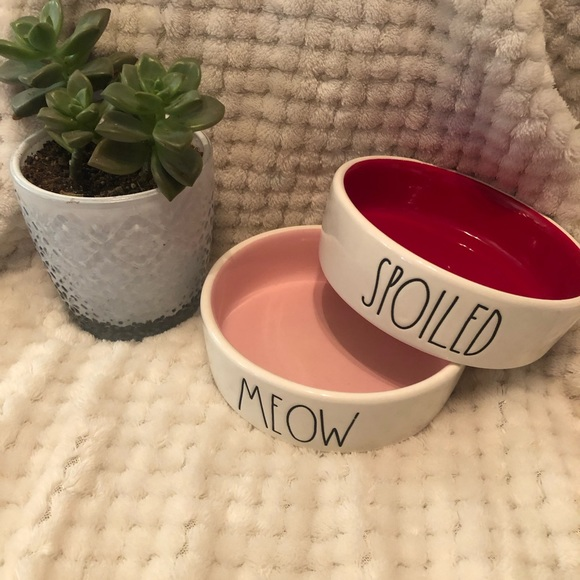 "Rae Dunn Pink ""Meow"" & Red ""Spoiled"" Cat Bowl Set"